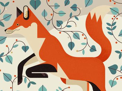 Fox Festive Card animal christmas festive leaves fox