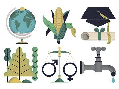 Pyxera Global Icons corn tap globe education gender equality logos icons