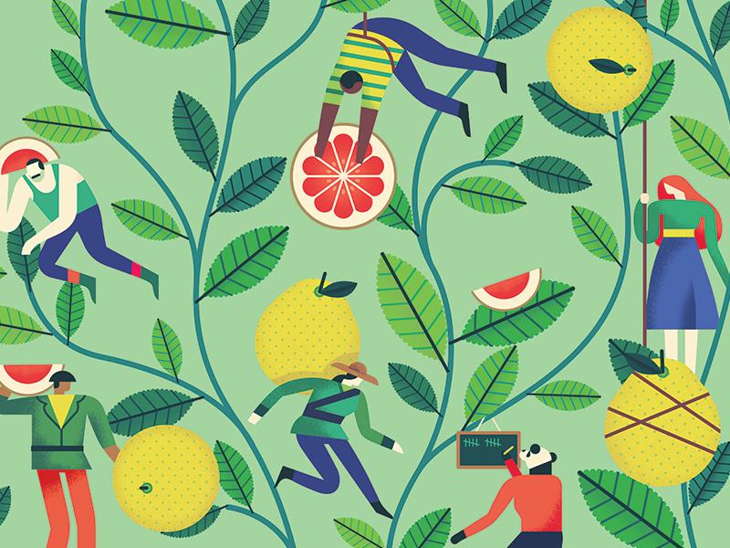Ice Tea Design characters leaves fruit pomelo tea