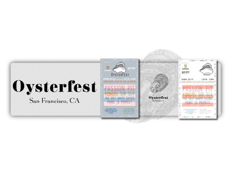 San Francisco's Oysterfest Poster Explorations oysters illustration vector branding graphic design minimal design challenge san francisco oysterfest music festival poster design portfolio piece