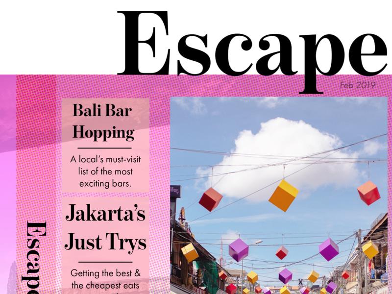 Escape Travel Magazine cambodia jakarta half tones travel typography books explorations book cover illustration graphic design minimal lettering flat vector design challenge design