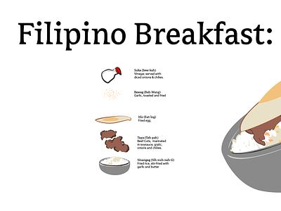 Filipino Breakfasts illustration typography graphic design explorations vector flat minimal design