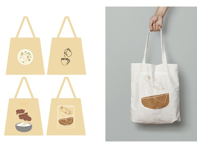 Tote bags inspired by my favorite things bags cocktails drinks food logo graphic design explorations vector design