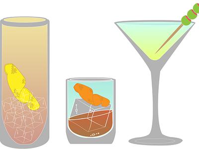 Cocktails cocktails beverage food drinks graphic design illustration flat minimal design