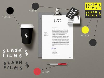 Logocore Challenge 06/30: Slash Films businesscards coffee mock ups explorations design challenge flat vector graphic design minimal design
