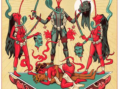 Chinnamasta san francisco india ink drawing blood chinnamasta design illustration