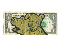 Dog Eat Dog. Hand Painted Dollar. $100.