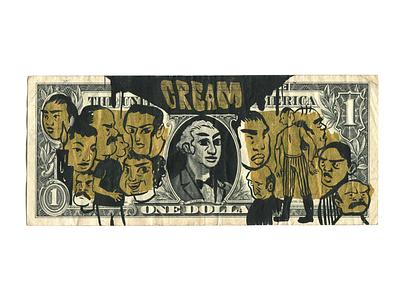 Cream. Hand Painted Dollar. $100. gifts original art san francisco ink india ink gold drawing wutang money cash cream