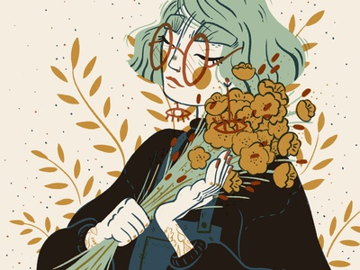 Mustard Florals Illustration digital art procreate procreate art procreate app digital illustrations portrait art character illustration illustration