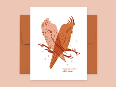Cuddle Buddies Card Illustration greeting card bird illustration animal illustration digital art digital illustration instant download printables printable card galentines valentines day