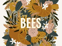 Bees & Botanicals Poster Illustration