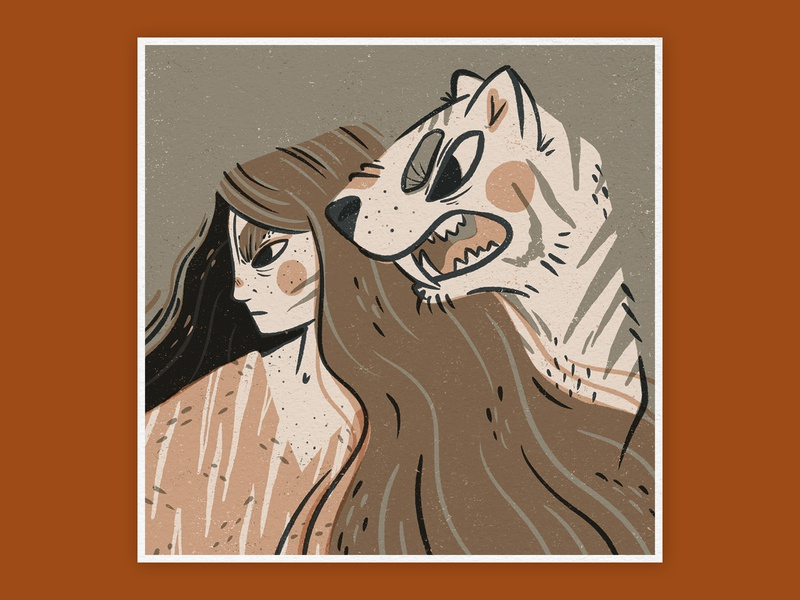 Tiger Spirit Digital Illustration portrait art linocut style digital illustration procreate app procreate digital art editorial illustration animal illustration animal art