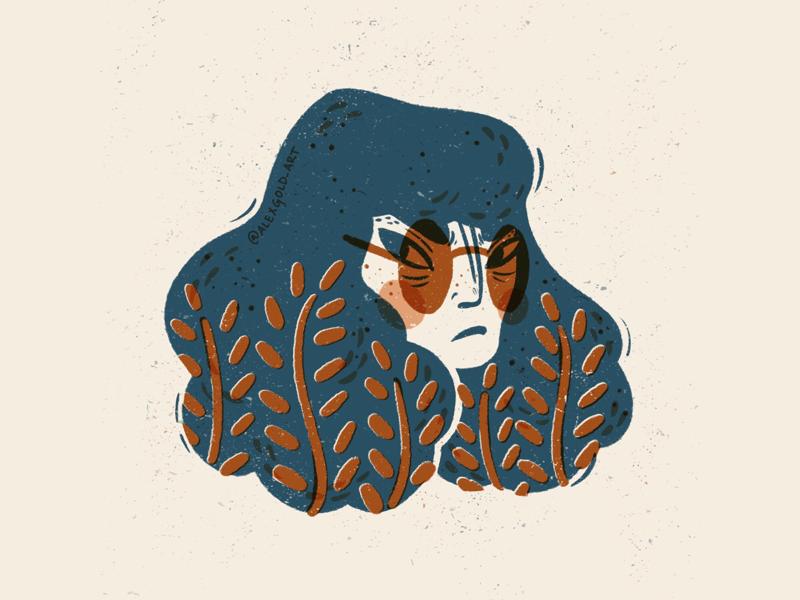 Grumpy Gal Grandma Glasses digital illustrator cool character illustration texture vintage woodblock linocut procreate app procreate editorial illustration digital illustration illustration