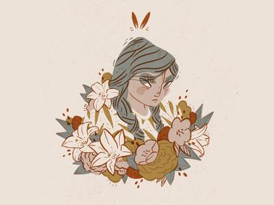 Bunny Gal Digital Illustration character illustration flowers florals apple pencil procreate app procreate editorial illustration digital illustrator digital illustration illustration