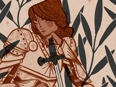 'Waiting' Digital Illustration power strength woman female knight linocut style character illustration editorial illustration digital art procreate app procreate digital illustration