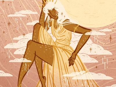 Sun Goddess Digital Illustration feminine pink warm powerful strength strong woc woman illustration character illustration editorial illustration digital art procreate app procreate digital illustration