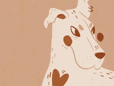 Punk Doggo Illustration neutral warm blush illustration animal illustration character illustration linocut style editorial illustration digital art procreate digital illustration