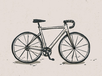 Simple Road Bike Illustration road bike bicycle bike minimal simple organic handdrawn hand drawn illustration editorial illustration procreate app procreate linocut style digital illustration