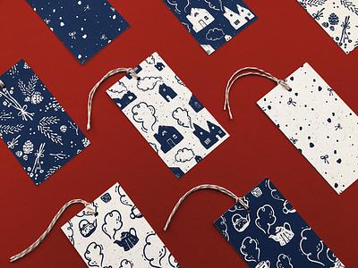 Winter Patterns Gift Tag Set winter christmas holidays digital illustrator digital illustration hand drawn illustration surface pattern design surface pattern repeating pattern pattern design gift tags
