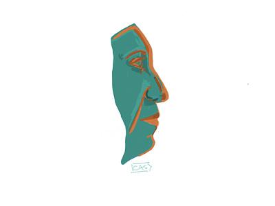 Side view illustration design self portrait ipad pro sketchbook