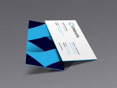 Umbrella Business Card v03 blue branding logo corporate geometry gradient id identity umbrella businesscard navy blue business card