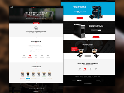 Espresso 1882 - Redesign Part I website web design web clean blue layout landing page redesign black coffee espresso capsules
