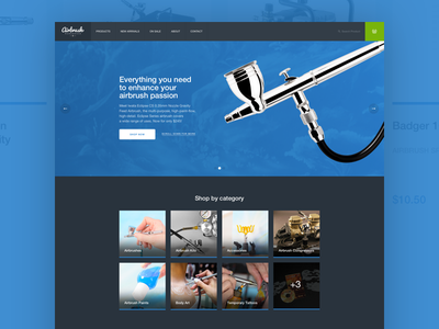 Airbrush Warehouse Redesign redesign design experience store airbrush ecommerce website web shop interaction ui ux