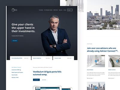 Financial Advisers Website blue business web design website investments corporate money advisers advisory financial finance fintech