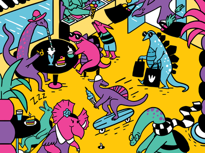Dino City animals digitalart illustraion editorial illustration children illustration childrens illustration illustration