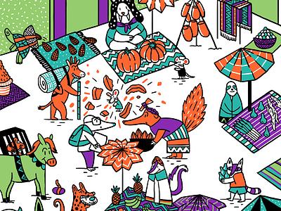 Aztec market illustraion digitalart animal picturebook childrenbook childrenillustration aztec