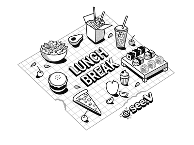 Lunch Break foodillustration digitalart illustrator vector illustration isometric isometric art