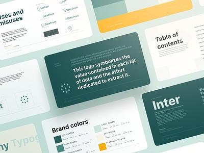 Data Front Brand Book presentation slides minimal redesign rebrand logo design brand design fintech financial design brand identity visual identity logo branding brand book