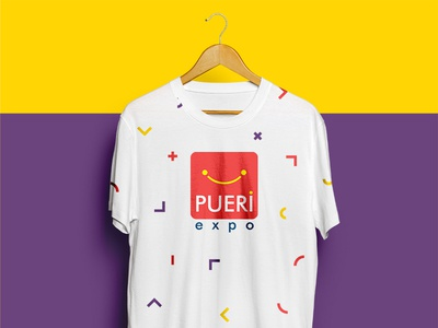 Pueri Expo - Promotional t-shirt promotional cloth tshirt t-shirt yellow visual identity layout kids expo color brand identity purple
