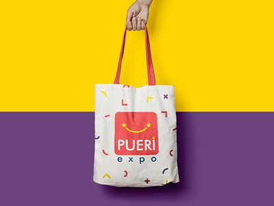 Pueri Expo - Promotional eco-bag purple brand identity color expo kids layout visual identity yellow eco bag bag cloth promotional