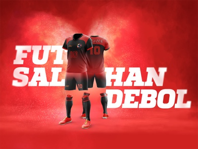 Futsal / Handball Uniform uniform red layout team sport soccer psd mockup futebol football