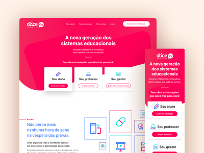Alice – Hotsite website ui ux responsive desk mobile red hover educational education web interface