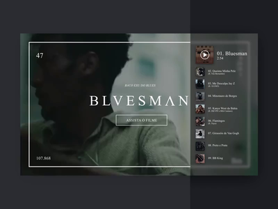 BLUESMAN | Music album website [CONCEPT] band movie sketch al release black ux web hiphop rap music album player play video layout website concept ui music album