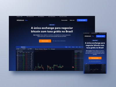 Modiax Pro – Landing Page platform product homepage clean ux interface ui mobile desktop responsive orange blue cta bitcoin trade exchange cryptocurrency crypto dark website
