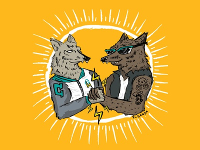 Coyote and Wolf Bro Moment photoshop hand drawn awesome homies handshake bros illustration rad wolf coyote