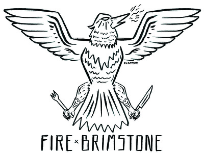 Fire & Brimstone Phoenix pizza rustic brush ink hand drawn fire americana logo hand lettering tattoo phoenix