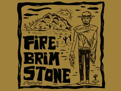 Fire and Brimstone Good the Bad and the Pizza Box Design cowboy illustration pizza western southwest