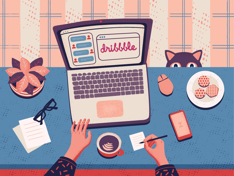Hi dribbble! dribbble online learning work at home flat chat team desk conversation character cat working debut cartoon illustration vector illustration hi dribbble