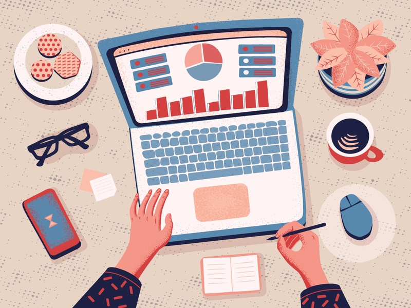 Data analysis comfortable working work team desctop scene textured vector 2d illustration vector cartoon illustration illustration flat data analysis