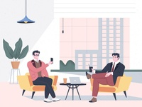 Coffee break cartoon relaxing colleagues office communication coffee break coffee break team working character vector illustration 2d illustration flat cartoon illustration