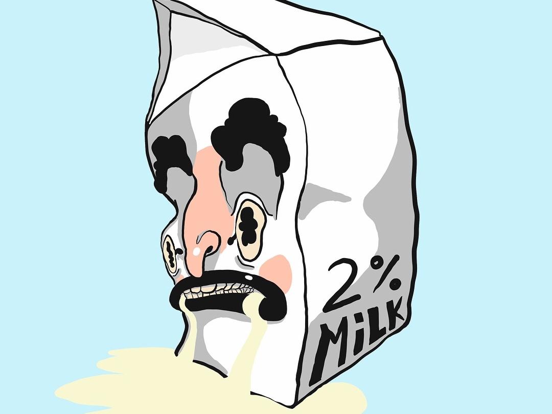 Spilt Milk vector drawing illustration digital illustration