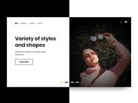 Eyewear Web Design - Dark + Light Split Screen Carousel