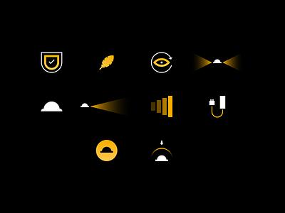 Custom Icons for Illumagear! darkness illuminate illumination battery construction feather icons icon hat light