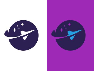 Logo for SlingShot universe gravity planet plane ship space icon mark logo
