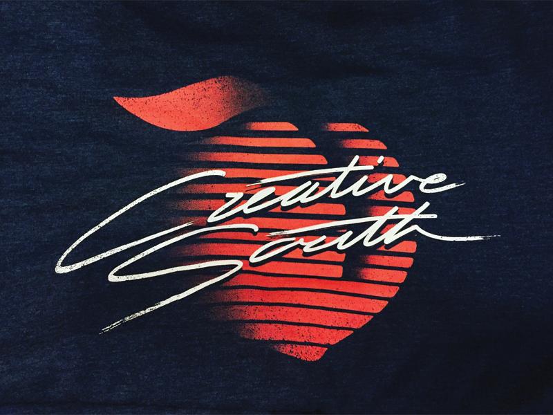 Creative South was r∧D handlettering script 80s apple leaf design tshirt creative south peach rad
