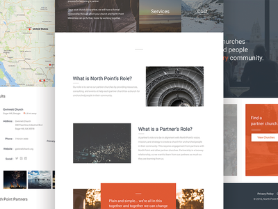 New North Point Partners website content shadow button ui ux map image design website church